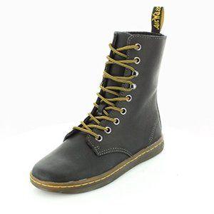 Women's Black Gray Leather 9-Eye Tehani Boots 8 US